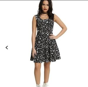 HOTTOPIC BLACK PASTEL SCIENCE FIT & FLARE DRESS XL